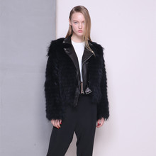 Arlene sain women Skin suit collar Black fur coat jacket female raccoon MAO spoke free shipping