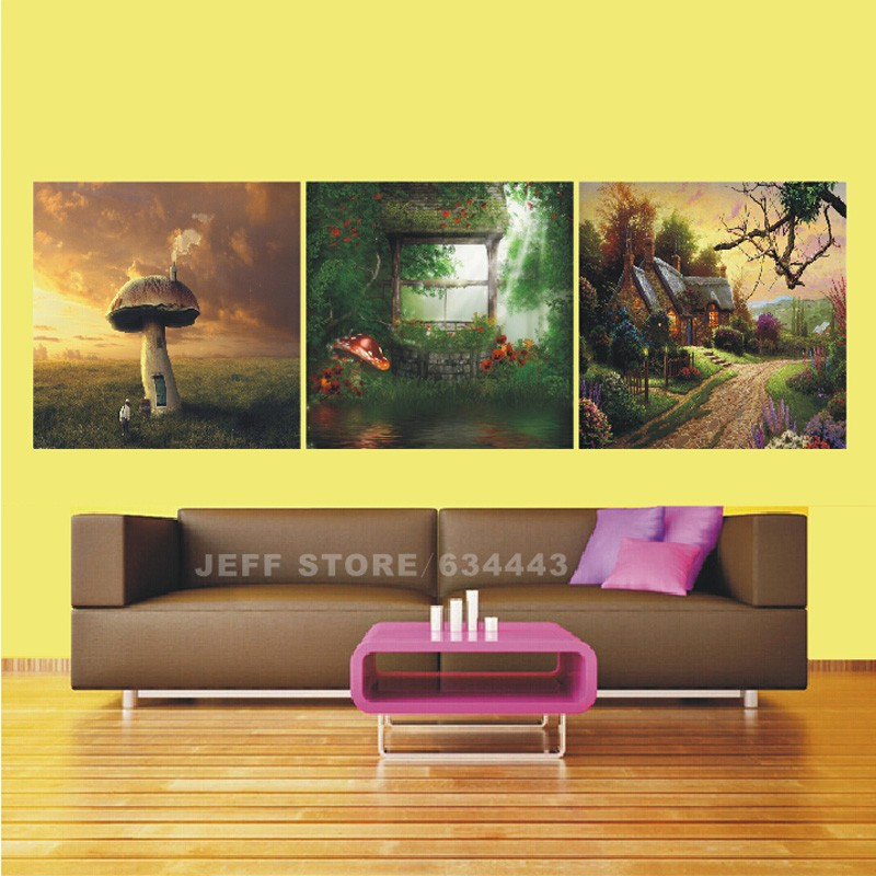 Large Painting Canvas Unframed 3 Sets Fairy Tales Modern Wall Art ...