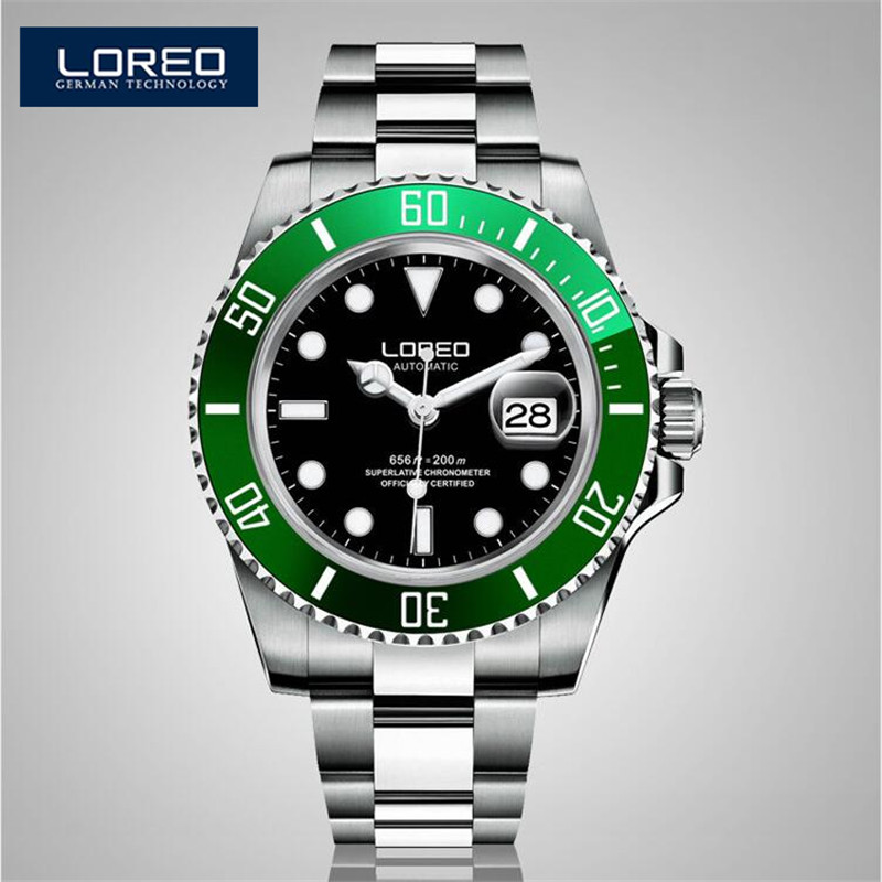 LOREO Luminous Waterproof Watch Men Stainless Steel Sapphire Automatic Machine Wristwatch Auto Date Relogio Masculino K12