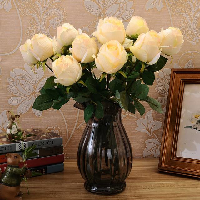 5pcs European Style Single Painting Silk Flowers California Royal