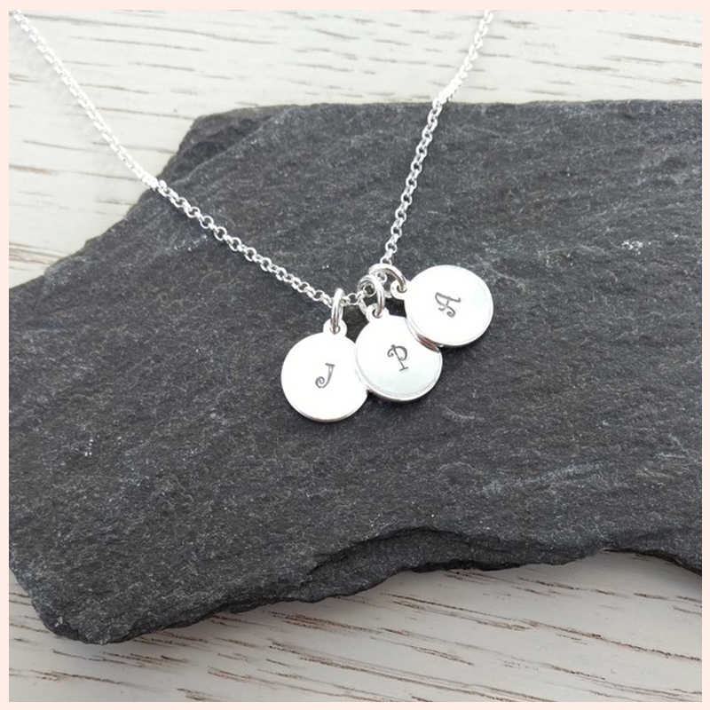SG Personalized 925 silver initial family and name disc necklace custom engraving letter pendant necklaces women jewelry gift