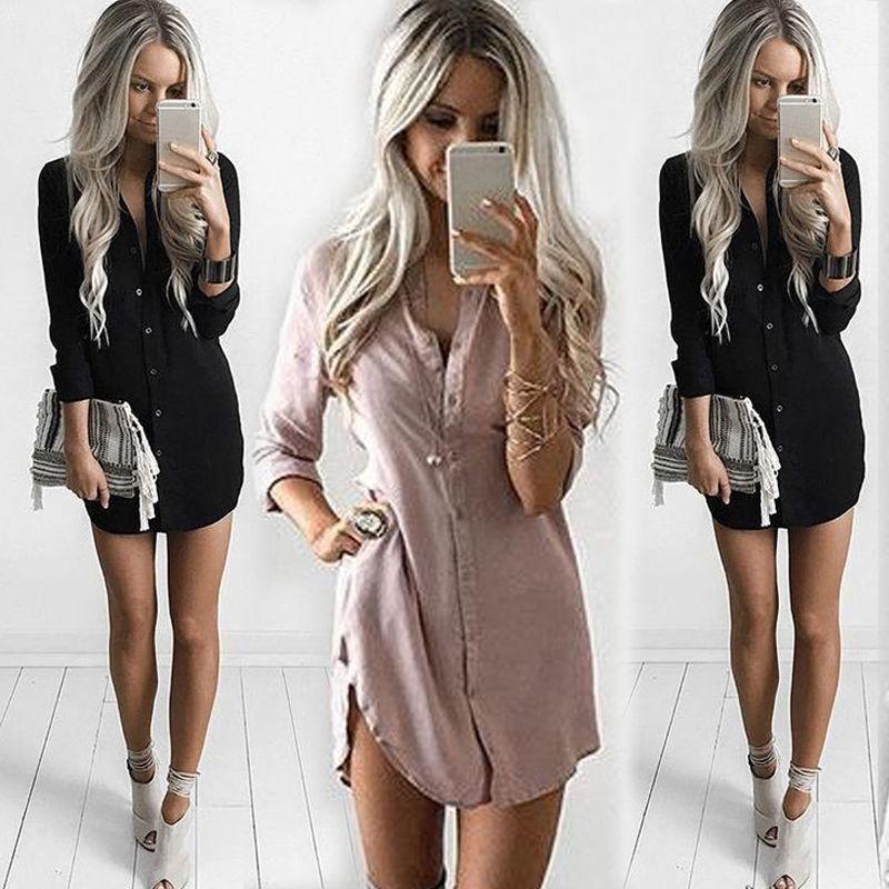 Sexy OL Fashion Women Sexy Long Sleeve Shirt Casual Long Blouse Loose Chiffon Tops Shirt
