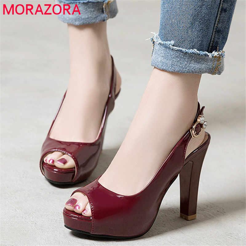Женские туфли-лодочки на квадр. каблуке MORAZORA, черные или темно-красные вечерние туфли-лодочки на квадратном каблуке с открытым носком, под платье, модель 2019 года