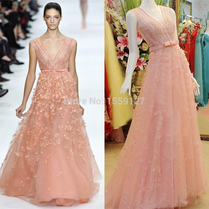 2015-Elie-Saab-Evening-Prom-Dresses-V-Neck-Coral-Mint-Tulle-Bow-Red-Carpet-Sheer-Pageant