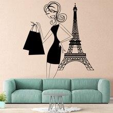 Cartoon Shoping woman Sticker Waterproof Vinyl Wallpaper Home Decor For Kids Rooms Decoration Decals