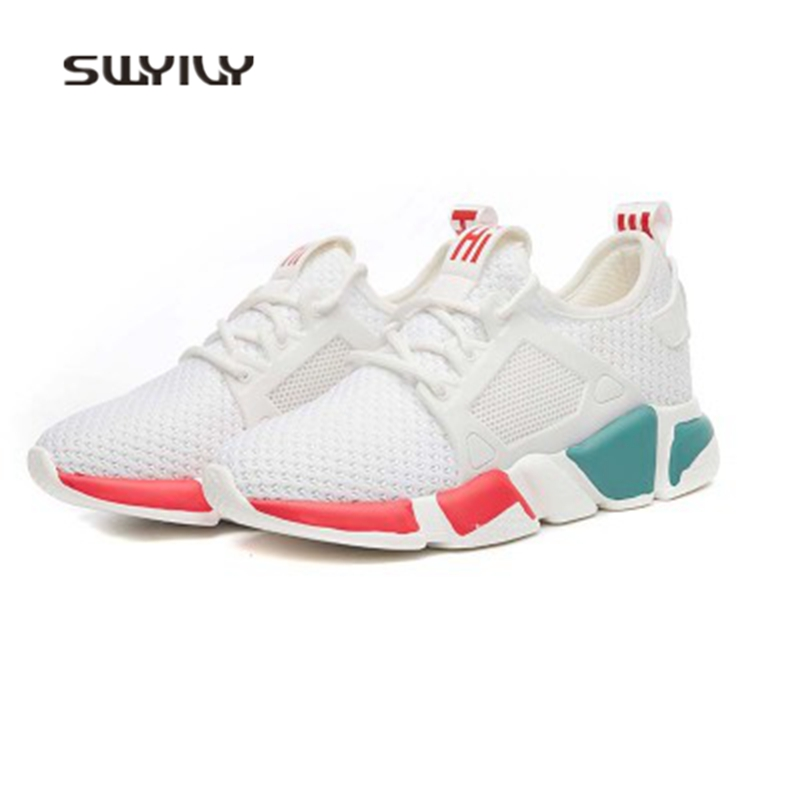 SWYIVY Women Running Shoes Weaving Breathable Wear-resistant Sport Shoes 2018 New Non-slip Soft Female Ultra-light Sneakers