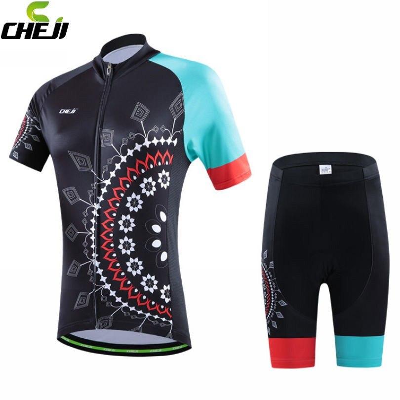 Prix pour Nouvelles femmes équipe de vélos Ropa Ciclismo Jersey vêtements de cyclisme vélo maillot manches courtes Shorts de chemise réglée fleurs