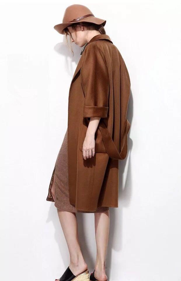 Mode long Milieu Laine face Tissus m Couleur Aucun De 100 Manteau l Double Femmes Chocolat Doublure S AzYqSqx