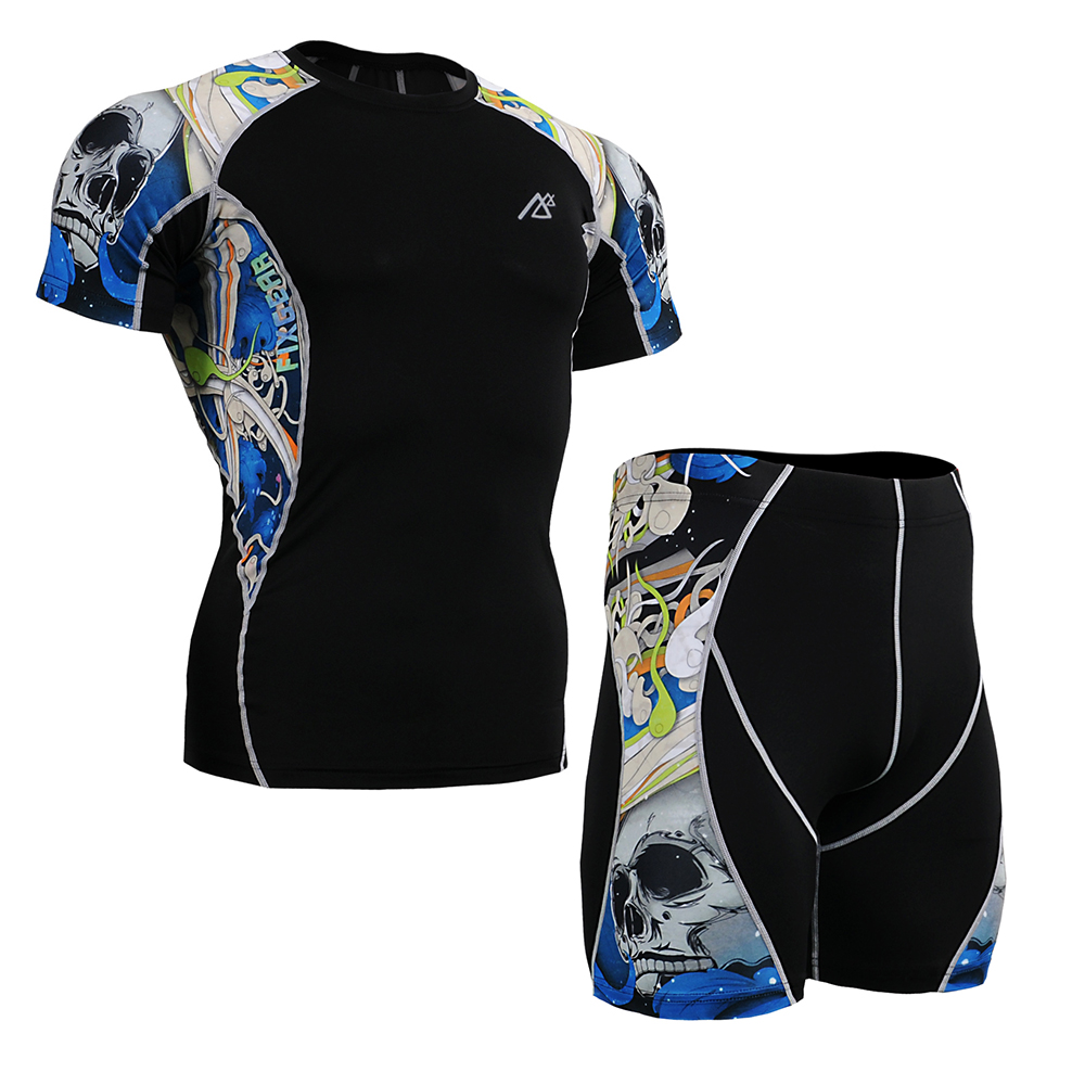Mens Training Clothes Suit Short Sleeve T-Shirts & Shorts Skin Tight Compression Fitness Clothing Set Man Sports Shirt Drawers