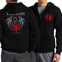 2017 Spring Autumn Game Of Thrones Targaryen Fire Blood Men Sweatshirt Zip Up Hoodies Men Brand