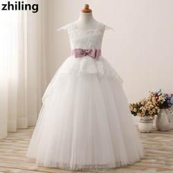 Рубашка с короткими рукавами для девочек в цветочек платья с бантом для девочек Платье для первого причастия для маленьких девочек платье