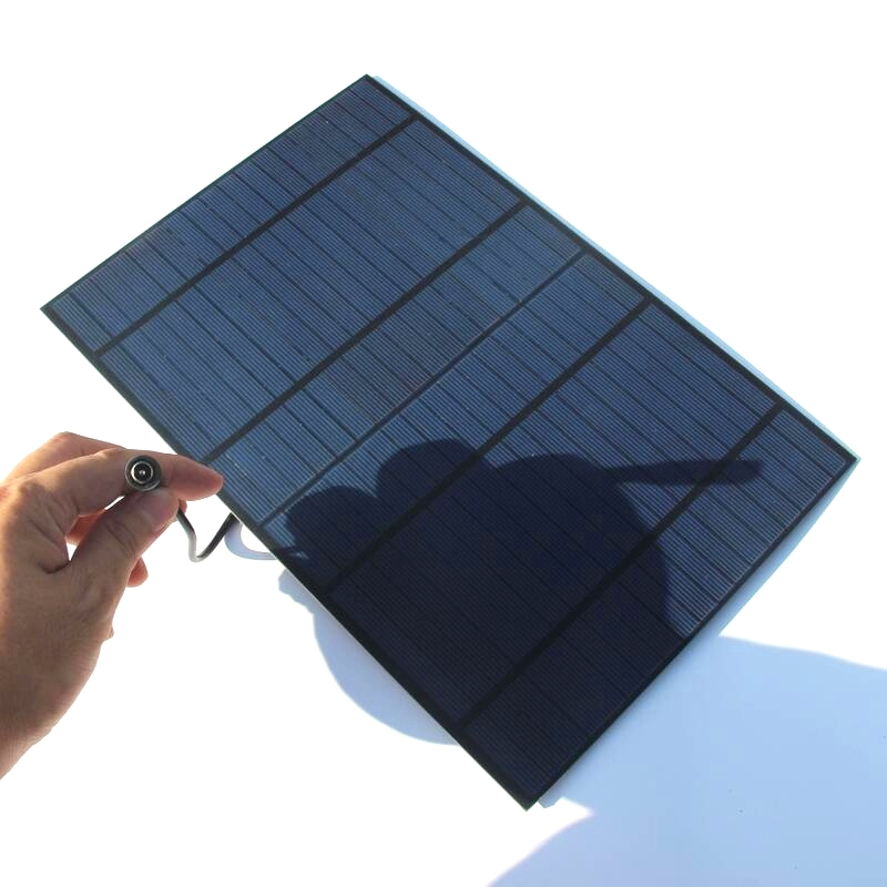 Hot 10W 18V Solar Cell Polycrystalline PET Solar Panel With Around 25CM DC Connector 318*215*3MM 2PCS/Lot Free Shipping