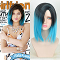 Kylie Jenner Short Straight Ombre Blue To Black Synthetic Wig Cheap Good Quality Pelucas Pelo Natural Short Wig Blue Ombre Jant