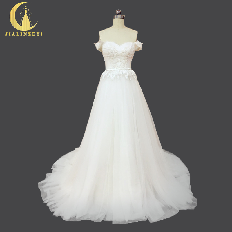 Rhine Real Sample Sexy Boat Neck Lace Lace Sexy up Tulle A-line Mewah Wedding Dresses Perkahwinan Gaun Perkahwinan