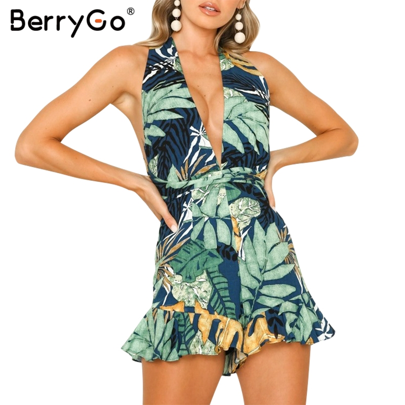 BerryGo women   jumpsuit   v-neck rompers leaf print playsuit Summer beach ladies   jumpsuit   romper Sexy backless sashes overalls 2019