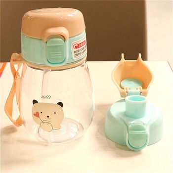 2Pc Cover Baby Kid Water Bottle Portable No Spill My Tritan Bottle Children Small Kettle with Straw Food Grade Slide Cover Copo baby feeding water bottle portable no spill cup my plastic bottle children s small kettle with straw food grade slide cover copo
