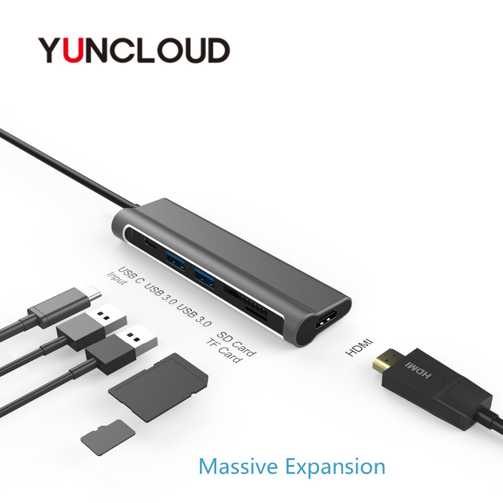цена на YUNCLOUD Laptop Docking Station USB C to USB 3.0/HDMI/Card Reader/PD Charging for MacBook Samsung Galaxy S9/S8 Huawei USB C Dock