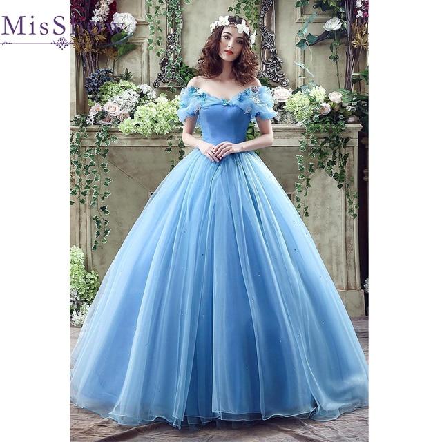 2017 Vestido De Noiva Blau Ballkleid Romantische Cinderella ...