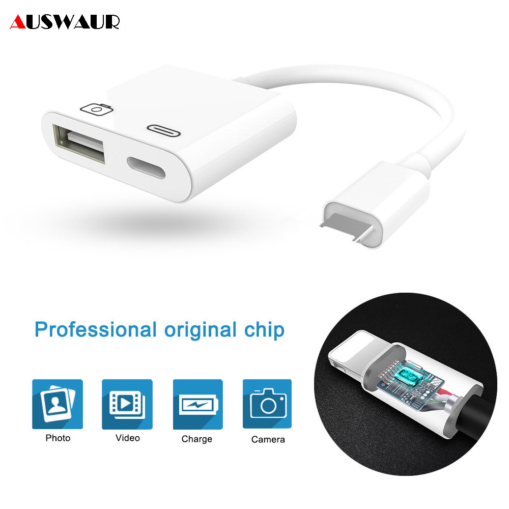 For IPhone To USB 3 Camera Reader Adapter Connector Kit Data Sync Cable For IPhone 8 7 7 Plus 6 6S X For IPad Charger Adapter