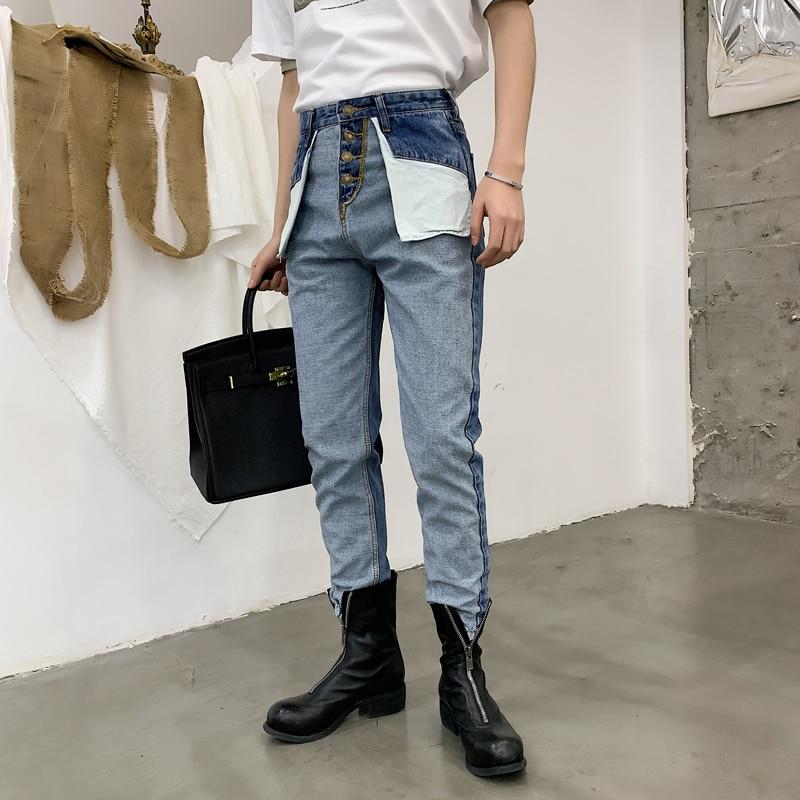 Men Retro High Waist Casual Denim Pants Male Fashion Streetwear Hip Hop Reverse Wear Harem Trousers Jeans For Men