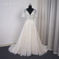Flare Sleeve V Neck Champagne Lining Wedding Dress A Line Lace Appliqued Beaded Illusion Corset Bridal Gown