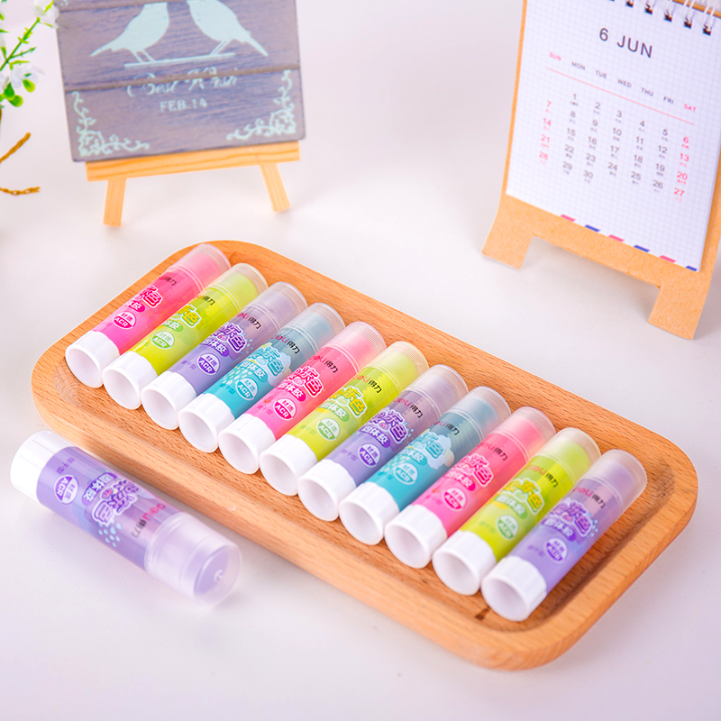 10Pcs Wholesale School & Office Supplies Solid Glue Strong Adhesives Solid Glue Stick For Children Candy Color Solid Glue