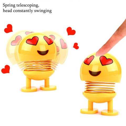 Car Ornaments Smiley Shaking Head Dolls Cute Cartoon Funny Emoji Wobble Head Robot Dashboard Car decorations Car accessories Multan