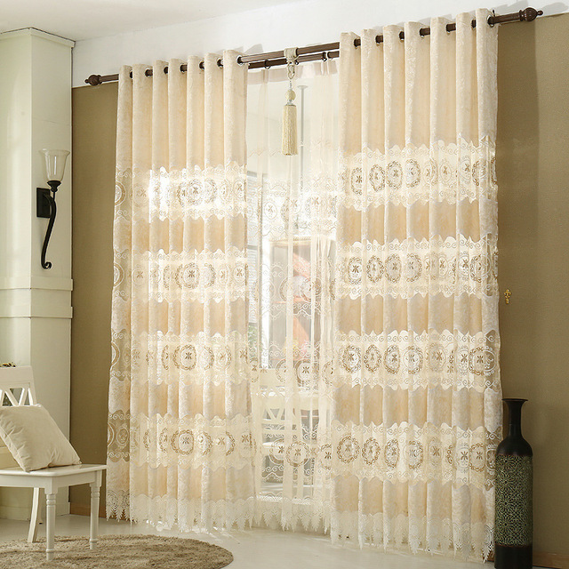 ZHH European Gold Velvet Hollow Curtains For Bedroom Living Room Curtains  Embroidered Sheer Curtains Luxury Window
