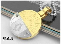 Twelve Constellation Golden Round Pisces Necklaces 316L Stainless Steel Pendant Necklace Jewelry Free Shipping Wholesale