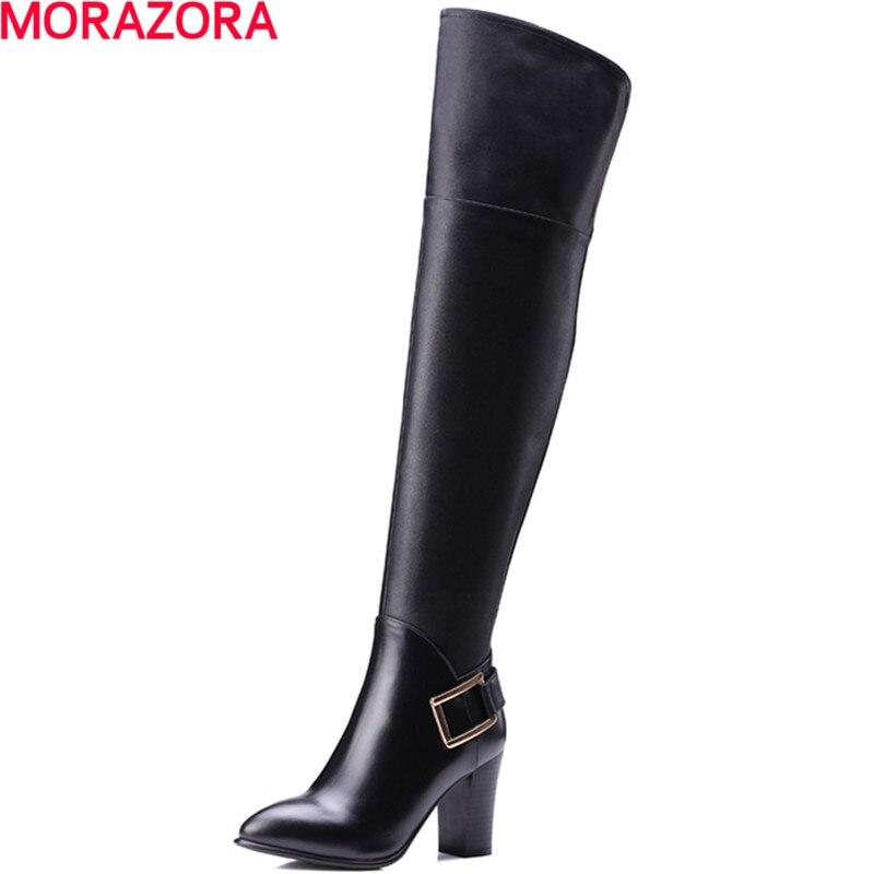 MORAZORA femmes d'hiver populaire de mode vente chaude cuisse haute bottes nouvelle arrivée boucle de longues bottes top qualité bout pointu bottes