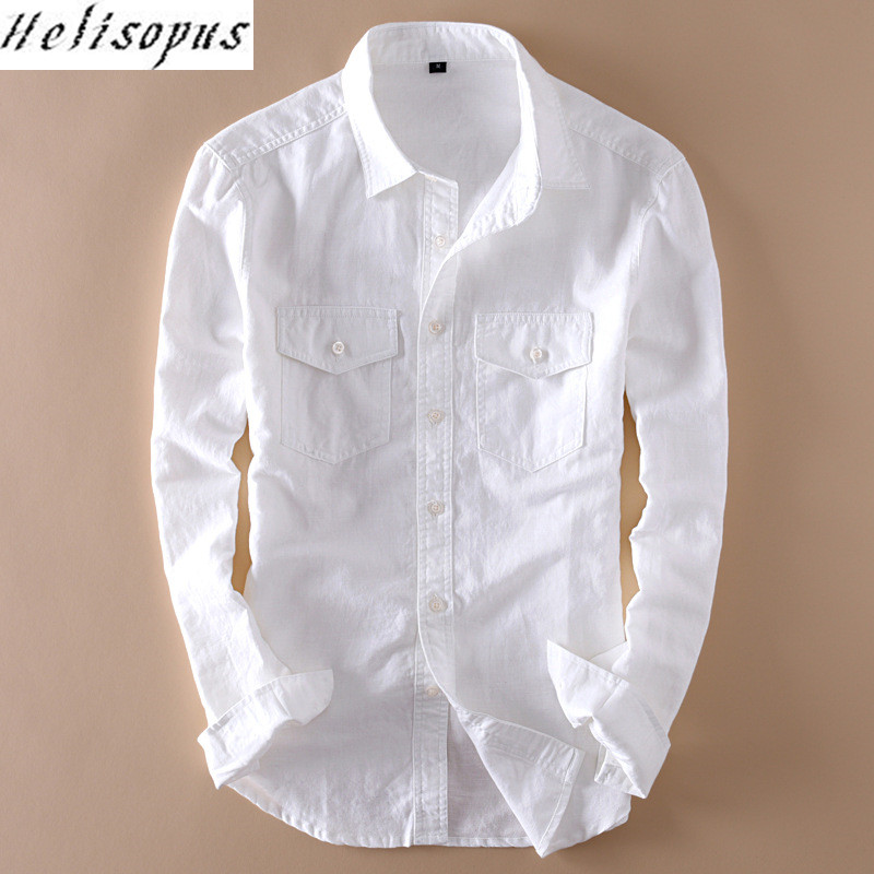Casual Shirts Smart Fashion Rolled Up Cotton Linen Shirt Men 2019 New Slim Fit Long Sleeve Mens Dress Shirts Casual Leisure Social Shirt Male Khaki