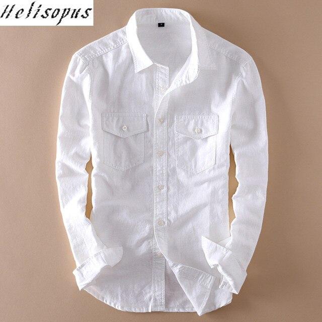 fd2c42409b2 Helisopus Cotton linen Shirts Mens Long Sleeve Casual White Shirt with  Pocket Male Shirts Camisa Masculina