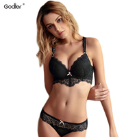 Godier Sexy Lace Push Up Bra Brief Set Embroidery Bralette BH Deep V Fashion Gather Top