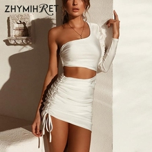 ZHYMIHRET One-Shoulder Dress Longo Vestido-De-Festa Ruched Sexy Hollow-Out Fashion Women