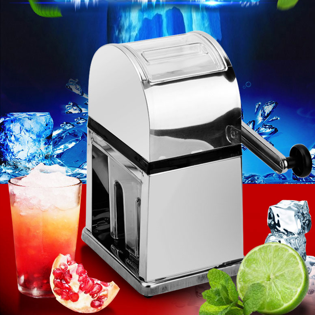 warmtoo Stainless Steel Home Bar Manual Ice Crusher Shaver Machine Tray Scoop Ice Maker manual ice crusher stainless steel ice block shaver shaving machine shaved slush ice maker