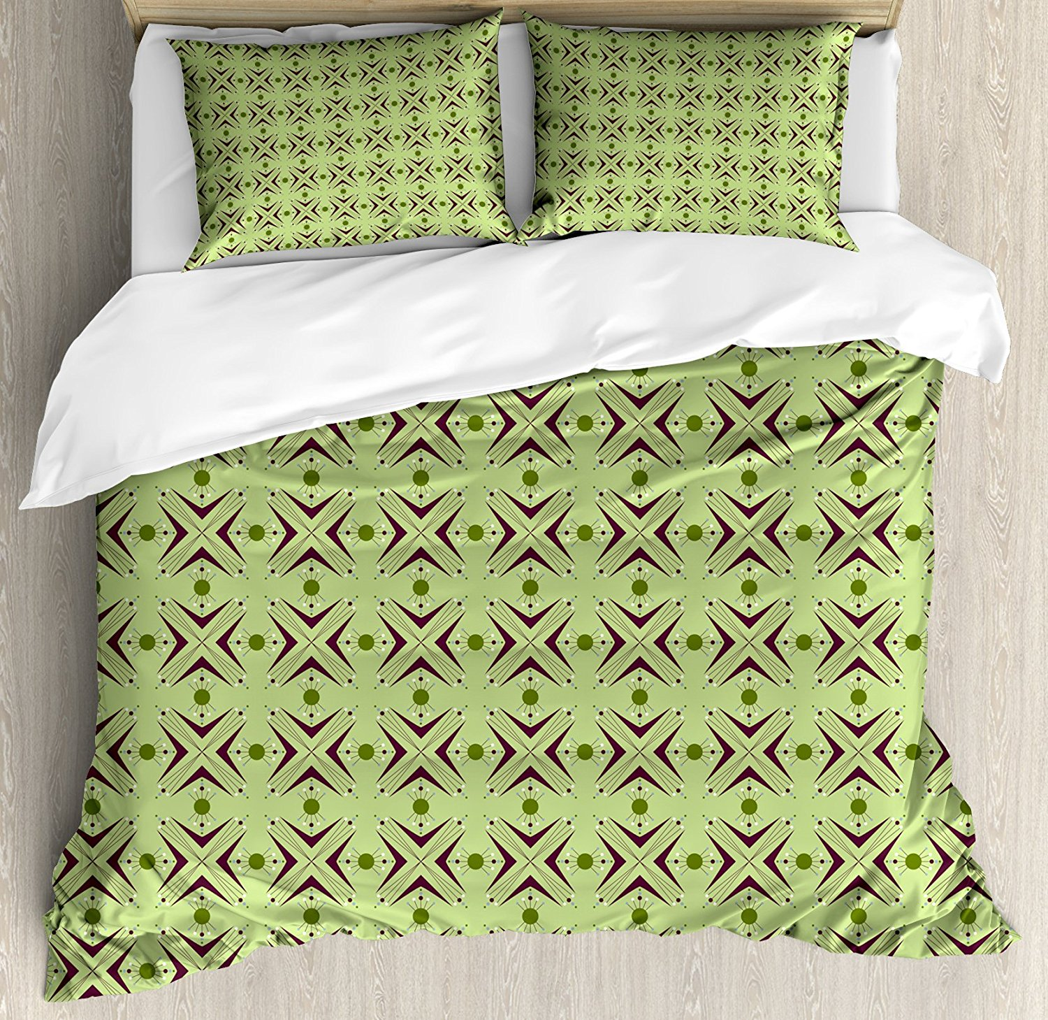 Mid Century Duvet Cover Set , Atomic Form with Boomerang Details Dots and Crossed Lines,  4 Piece Bedding Set