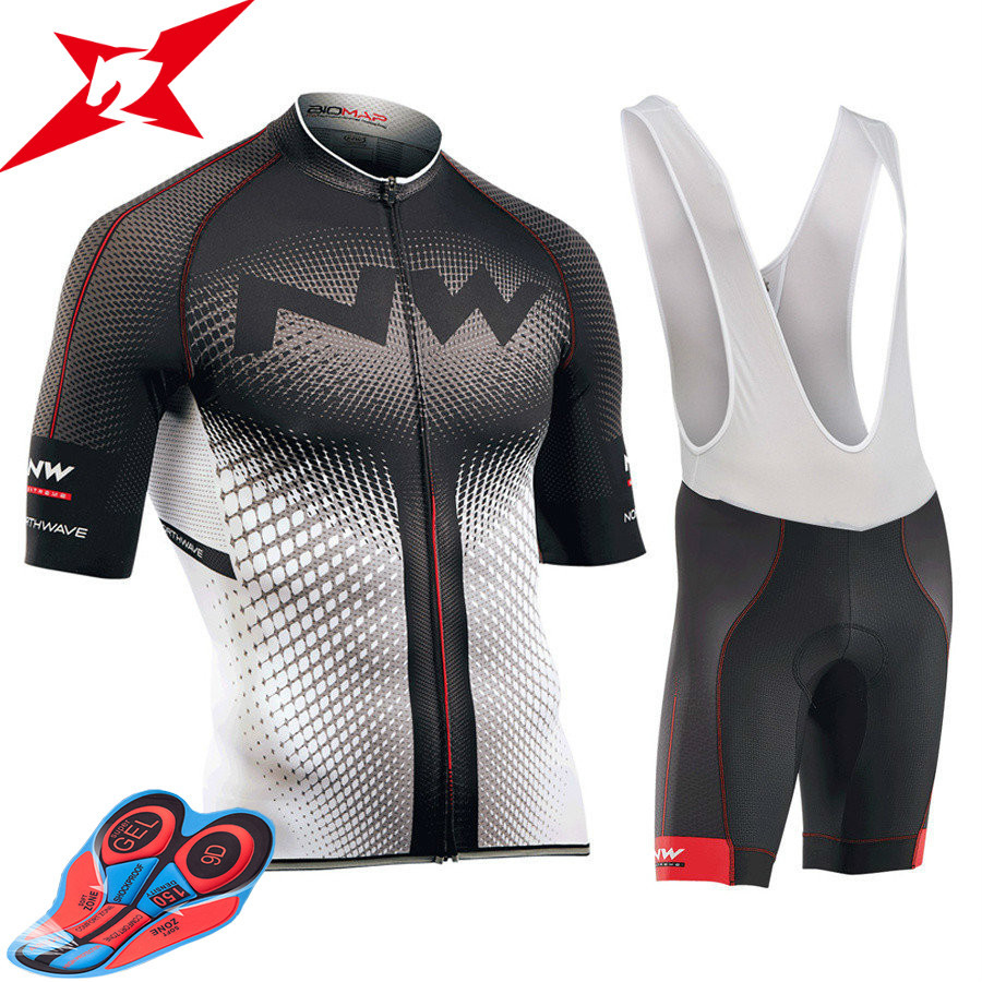2017 NW New Short Sleeves Pro Team Cycling Jerseys Set with Bib Pants Quick Dry Breathable Ropa Maillot Ciclismo 9D Gel Pad #612 2017 pro team fdj spring long sleeve cycling jerseys bicycle maillot breathable ropa ciclismo mtb quick dry bike clothing 3d gel