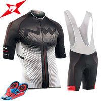 2017 NW New Short Sleeves Pro Team Cycling Jerseys Set With Bib Pants Quick Dry Breathable