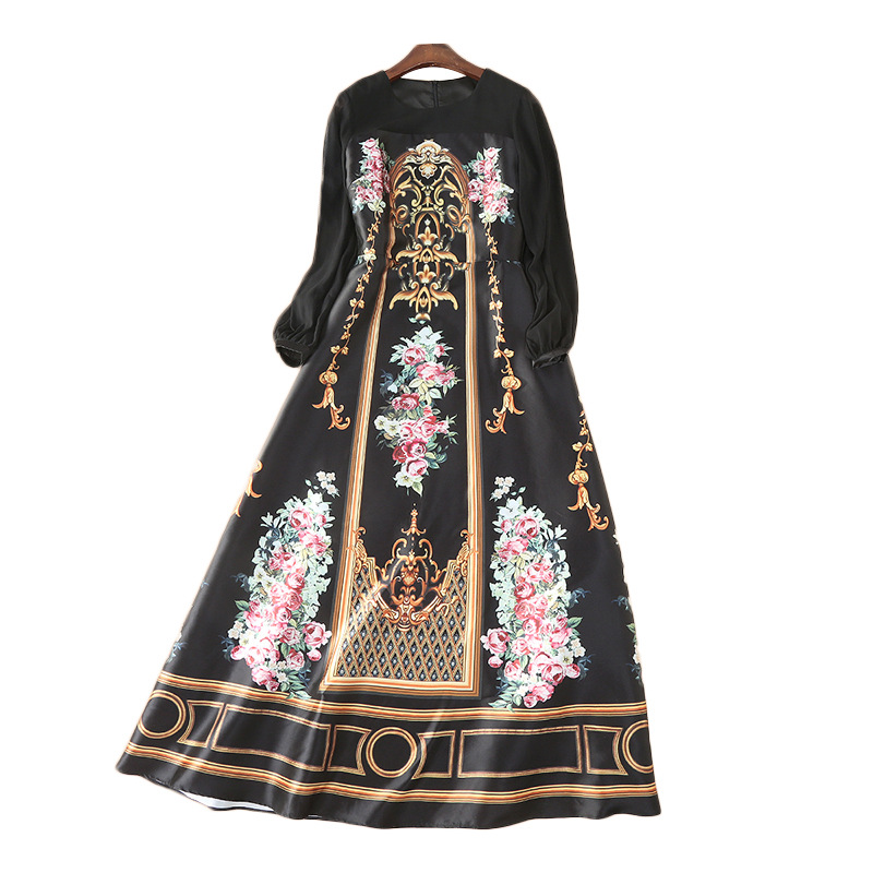WQJGR Long Sleeve Dress Women Bohemian High Waist O Neck Long Dresses Woman Party Night Elegant Dress in Dresses from Women 39 s Clothing