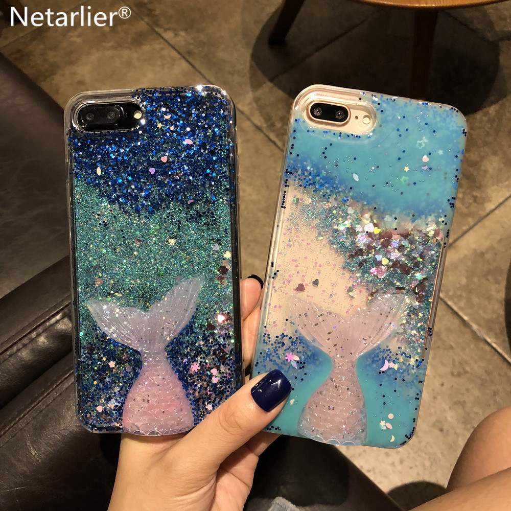 cheap for discount 80868 c7568 US $5.99 |Netarlier Liquid Phone Case For Iphone X 3D Glitter Mermaid Tail  Drip Powder Quicksand Bling Stars Hearts TPU Soft Case Cover-in Fitted ...
