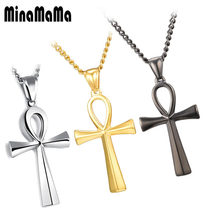 Silver Gold Black Color Vintage Stainless Steel Ankh Neckalces For Men Women Egyptian Male Necklaces Jewelry(China)