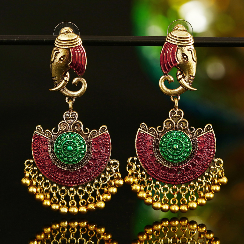 ZOSHI Indian Tribal Brass Earring Dangle Drop Flower Ornate Gypsy For Women Boho Vintage Jewelry