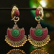 ZOSHI Indian Tribal Brass Earring Dangle Drop Flower Ornate Gypsy For Women Boho Vintage Jewelry
