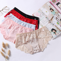 3 pcs/lot pure silk underwear sexy briefs plus size non trace underwear Triangle pants large size seamless bowknot K026