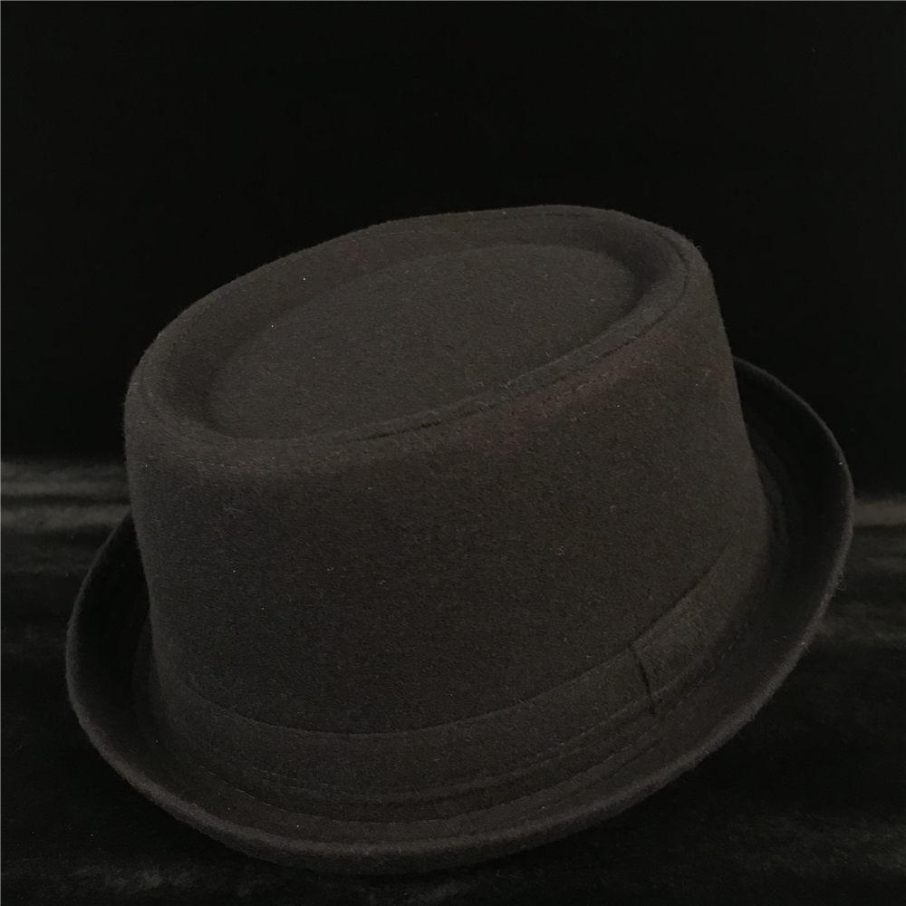 100% Wool Men Pork Pie Hat For Dad Winter Black Fedora Hat For Gentleman Flat Bowler Porkpie Top Hat Size S M L XL 5