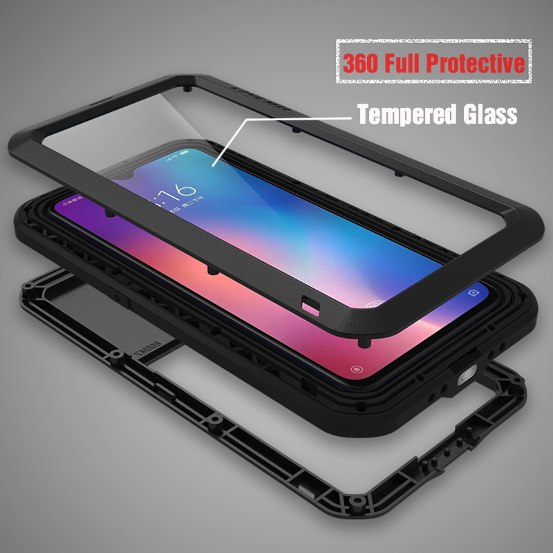 Luxury Full Body Protective Case For Xiaomi Mi 9 8 Mi8 Metal Armor +Gorilla Glass Rugged Shock Shockproof Cover Xiaomi Mi9 Cases|Fitted Cases| |  - title=