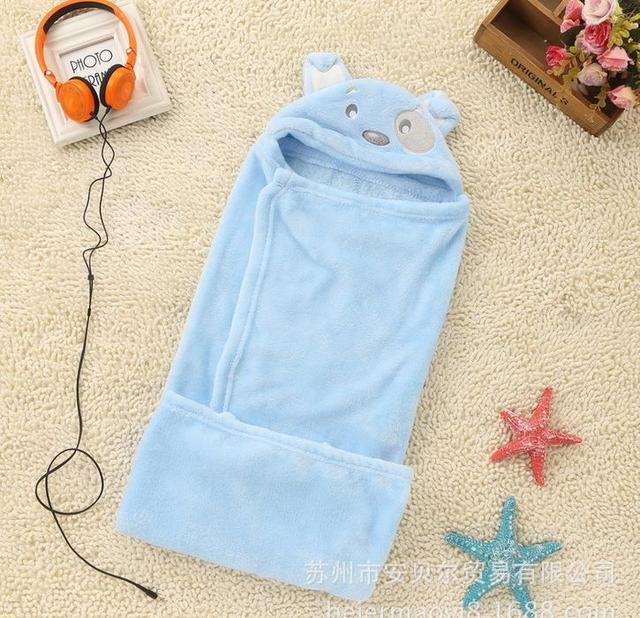 Новорожденных мальчиков девушки мультфильм животных ватки капюшоном одеяло супер мягкие удобные постельные принадлежности спать одеяло