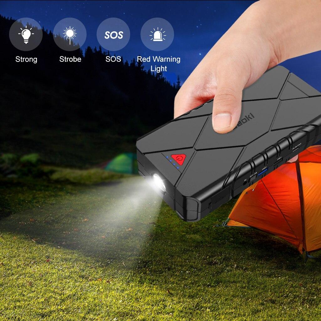 Suaoki 3 в 1 перезаряжаемый автомобильный стартер для подзарядки USB QC 3,0 Type C для зарядки телефона, светодиодный фонарик, аккумулятор 16000 мАч - 2