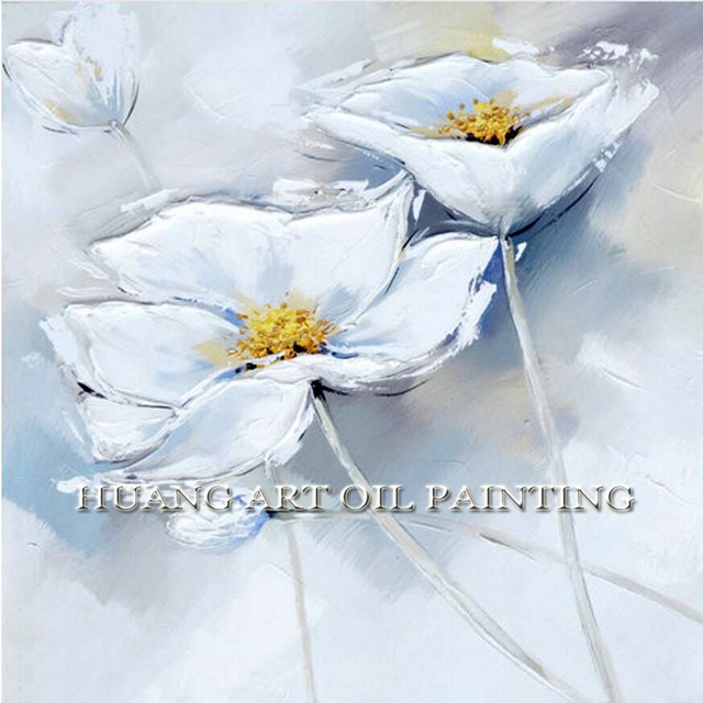 White Flower Wall Picture Handmade Oil Painting On Canvas For Living Room Study Decor Art Hanging Abstract