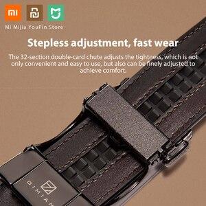 Image 4 - Xiaomi Qimian עסקים שחור איטלקי עור Automaitc אבזם חגורת כללי גודל 120CM אורך יוקרה אמיתי עור חגורת זכר